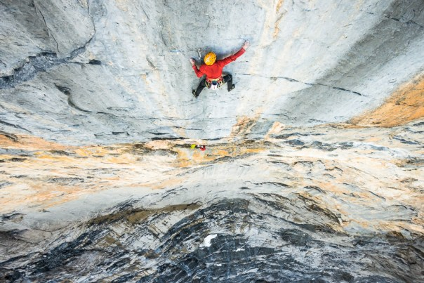 Alex's stunning photo of Dave leading the crux 8a pitch. Photo- Alexandre Buisse