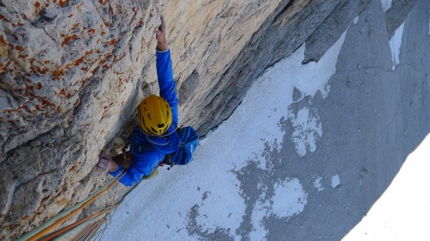 Rob seconding the crux pitch of the Brandler-Hasse. Photo- Calum Muskett