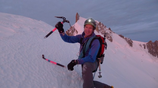 Stu looking happy atop Frontier Ridge. Photo- Calum Muskett