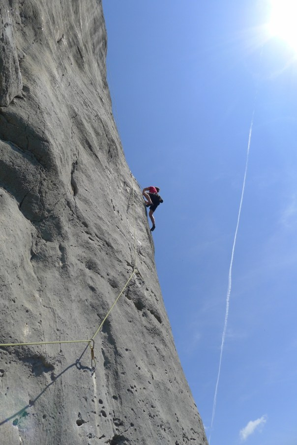 Andy leading the tricky Ctuluh. Photo- Calum Muskett
