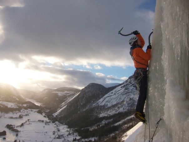 Climbing a new ice fall above Valle. Photo- Dave Rudkin
