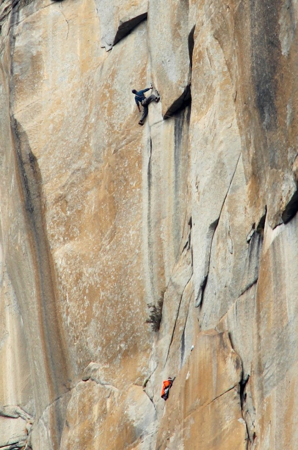 Dan climbing the Golden Desert pitch. Photo- Tom Evans