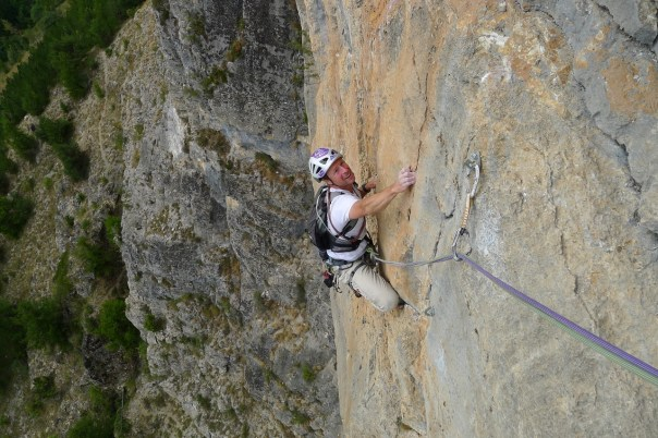 Jerry enjoying some of the superb climbing in the Ecrins. Photo- Caum Muskett