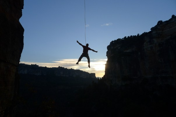 Ed lowering off at the end of another great day's climbing. Photo- Calum Muskett