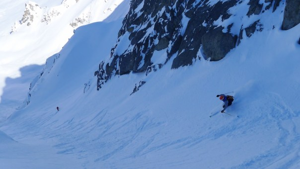 Ben Bardsley descending Le Genepi. Photo- Calum Muskett