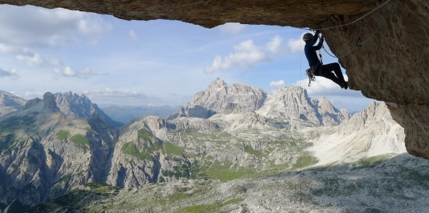 Dave Macleod on the crux pitch of 'Bellavista' 8c on Cima Ovest. Photo- Calum Muskett