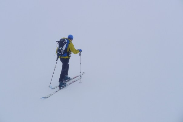 Blair skinning up Aonach Mor. Photo - Calum Muskett