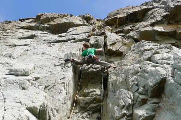'Mammoth Direct' E6 a fantastic Gogarth testpiece. Photo - Tim Neil
