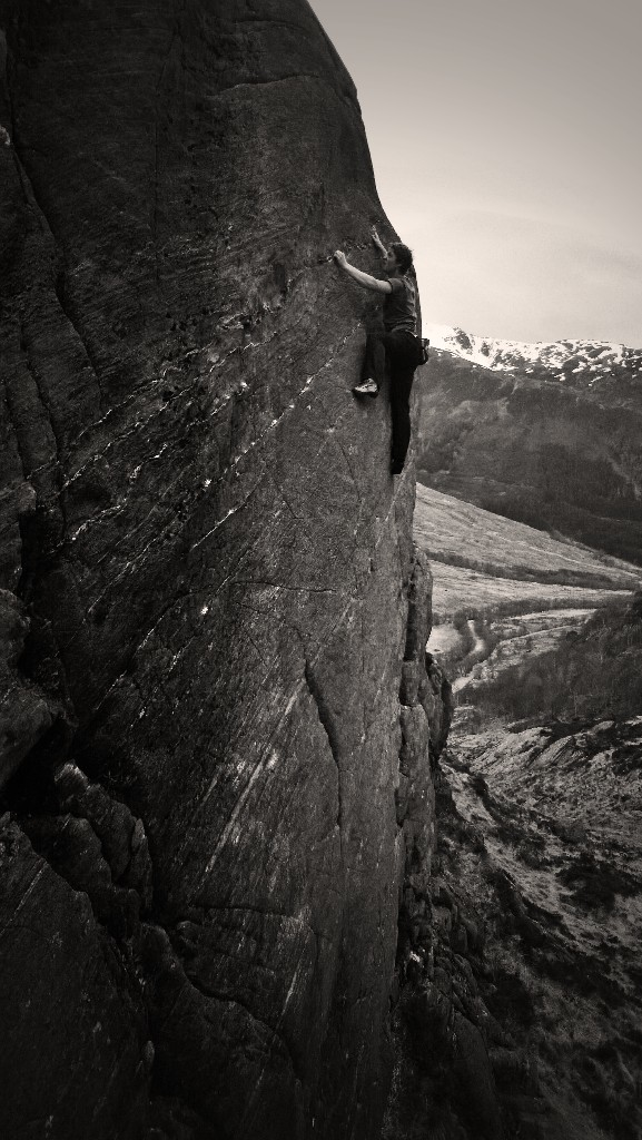 'Jahu' in Glen Nevis, a classic E6 frightener. Photo - Dave Macleod