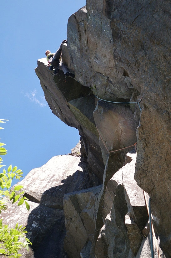 Making the first free ascent of 'Overlode' E6 6c. Photo - Pat Littlejohn