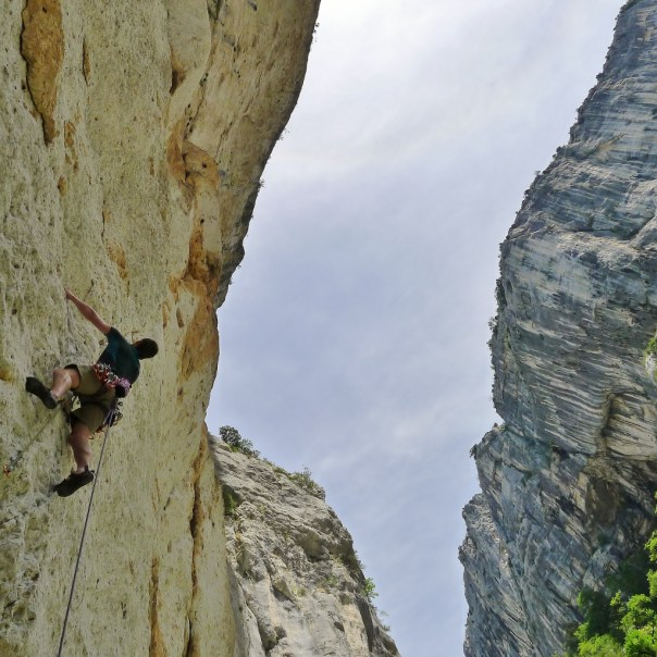 Climbing out of the very bottom of the Verdon Gorge. Photo - Calum Muskett