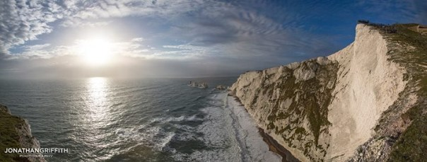 Alum Bay and the Needles. You can just about pick me out on the cliff. Photo - Jon Griffith