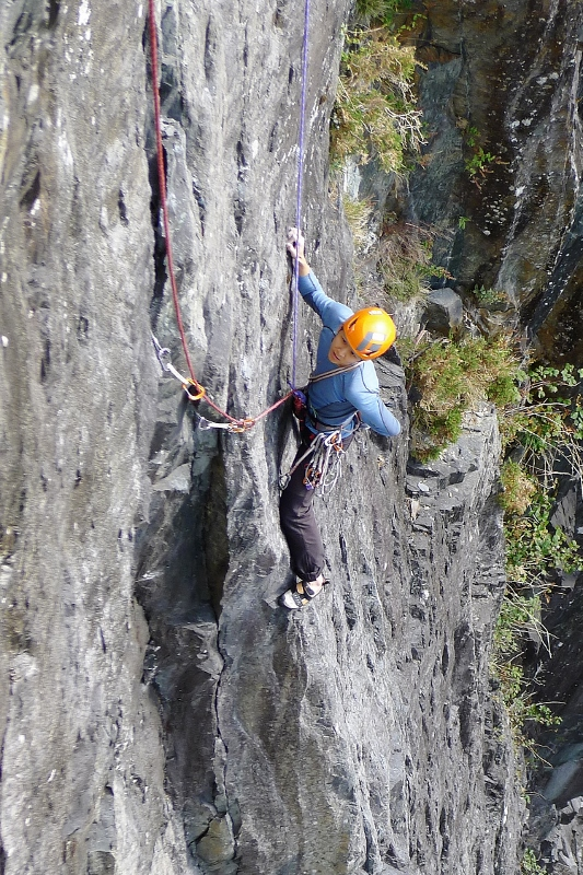 Jeremey seconding the first ascent of the Antiquarian direct. Photo - Calum Muskett