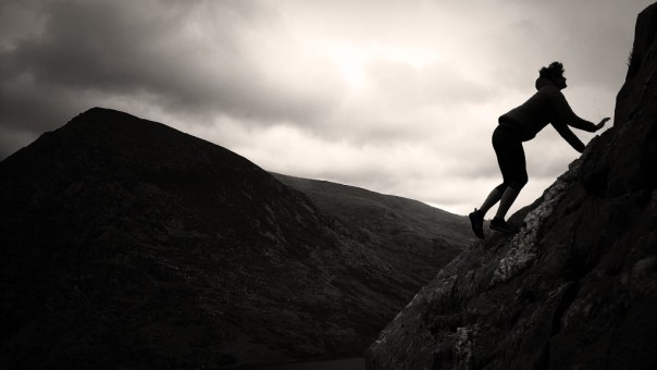 Out for a quick scramble with Gabby on Clogwyn y Tarw. Photo - Calum Muskett