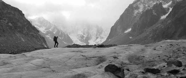 Tom descending the Mer de Glace. Photo - Calum Muskett