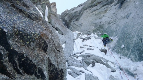 Heading up the second pitch of the Direct version of the Dru Couloir. Photo - Ally Swinton