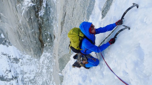 Ally Swinton having just climbed the final difficult pitch of the Dru Couloir Direct. Photo - Calum Muskett