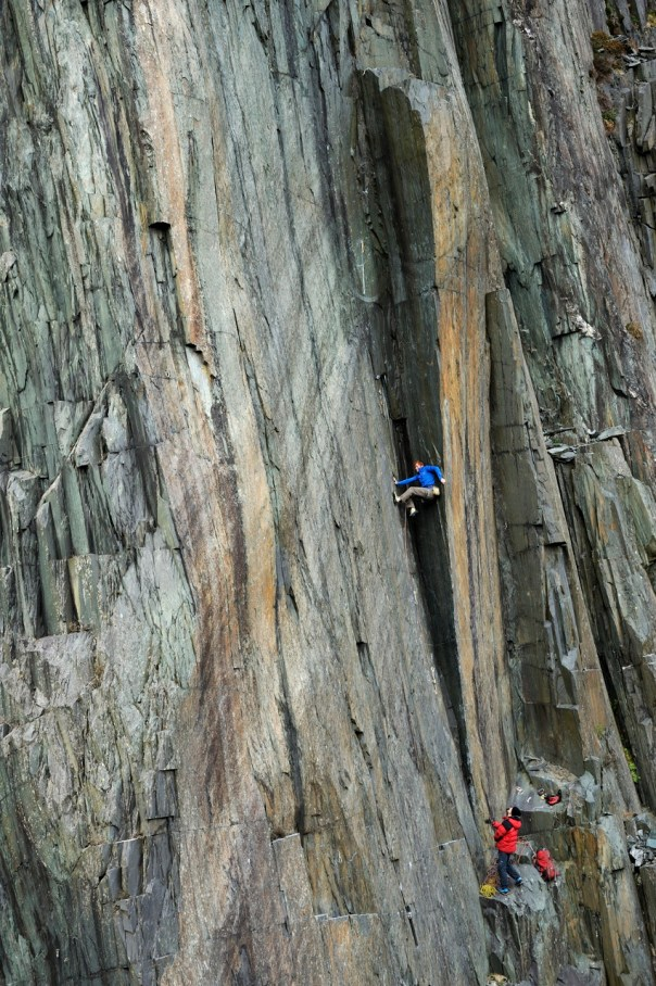 Calum Muskett climbing the Quarryman groove. Photo - Ray Wood