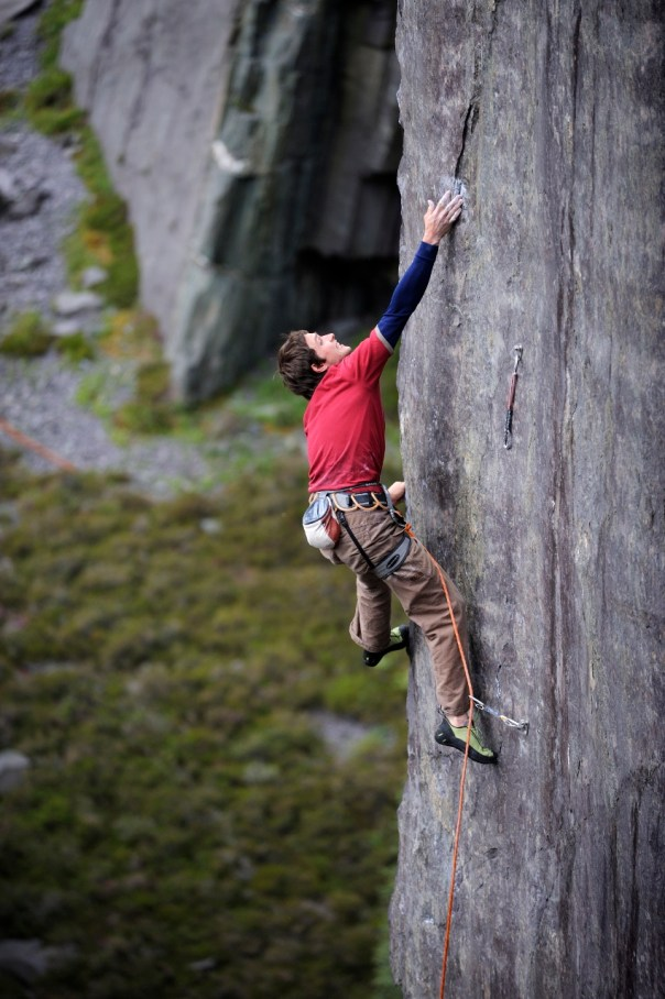 Pete Robins closing another chapter of slate climbing history whilst completing the first ascent of 'The New Slatesman' 8b. Photo - Ray Wood