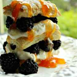 Blackberry Napoleon is a light and airy dessert recipe made from puff pastry, real whipped cream, blackberries and apricot preserves - a gorgeous and tasty finish to any meal!