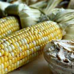 Oven Cob Corn with Chili Butter is a crunchy, spicy treat that is the perfect side dish for any meat! This roasted cob corn is steam cooked in the husk and then smeared with homemade chili butter for just a hint of heat.