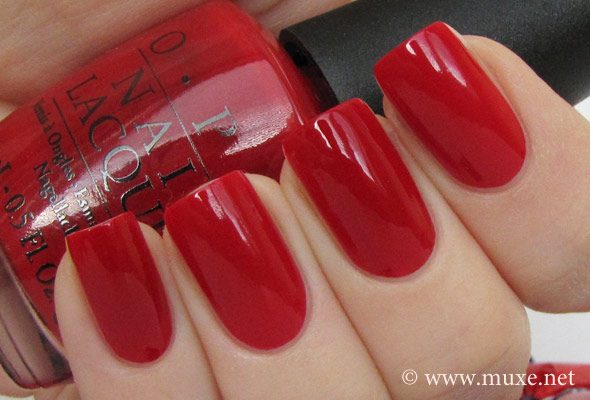 comparison swatch - OPI Big Apple Red and Sephora Cherry Popsicle