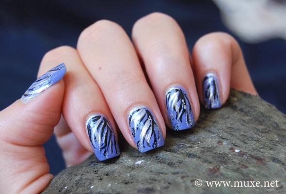 Blue silver nail design