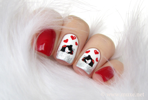 Valentine nails in red ad white