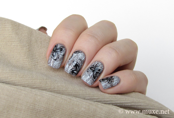 Butterfly nail art with laces