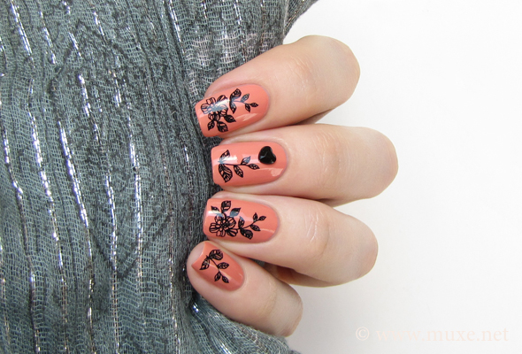 Pink floral nails with rhinestones