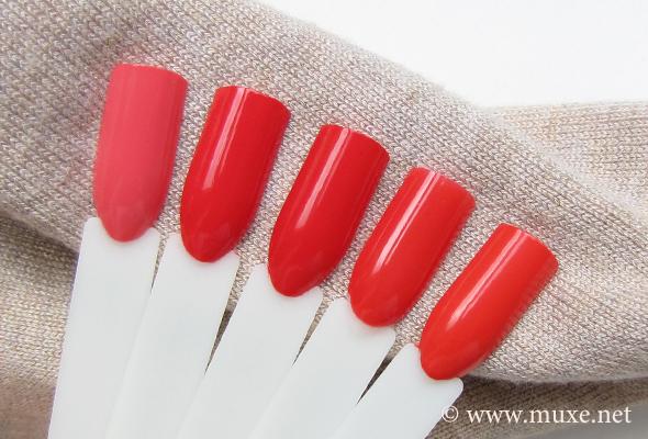 Red orange nail polish - comparison