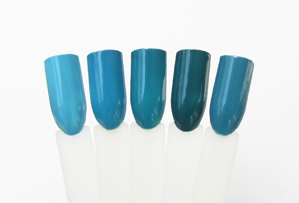 Teal nail polish comparison (green/blue)