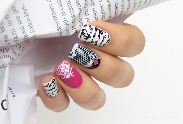 Water decals nail art on white