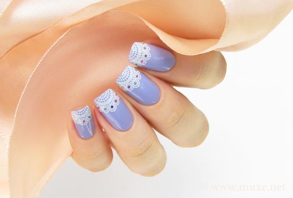 Lilac lace nail art