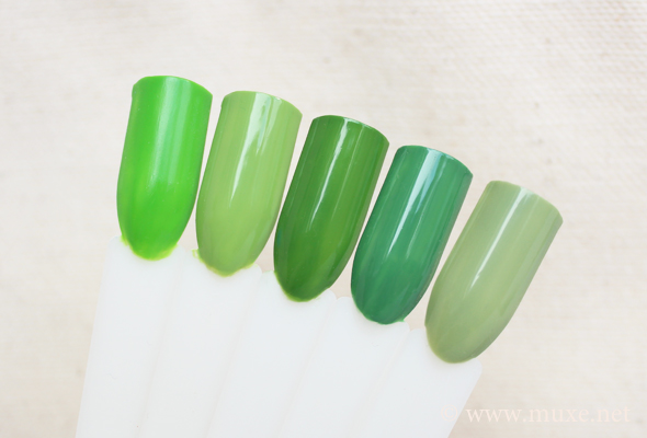 Green nail polish comparison (cremes)