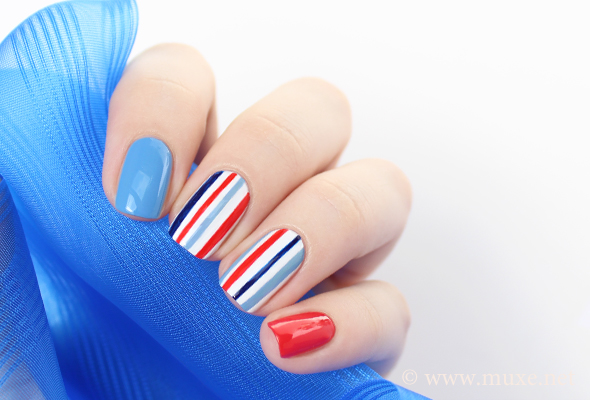 Red, white and blue navy accents – Mari\'s Nail Polish Blog