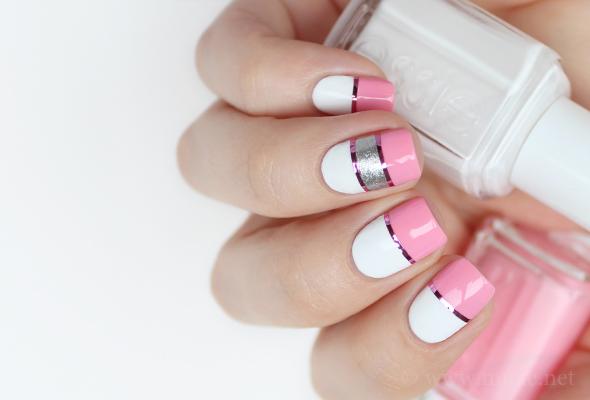 Pink white stripes nail design