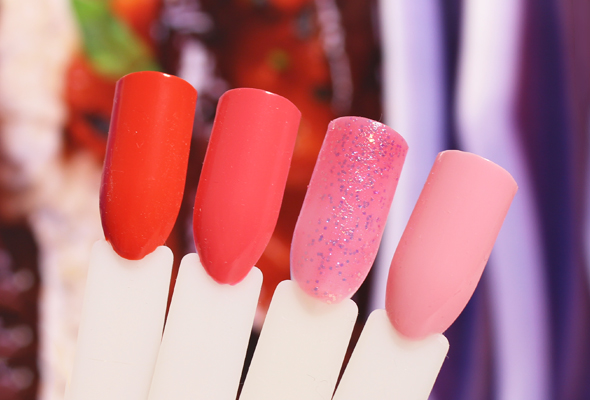 Pink to red comparison nail polishes