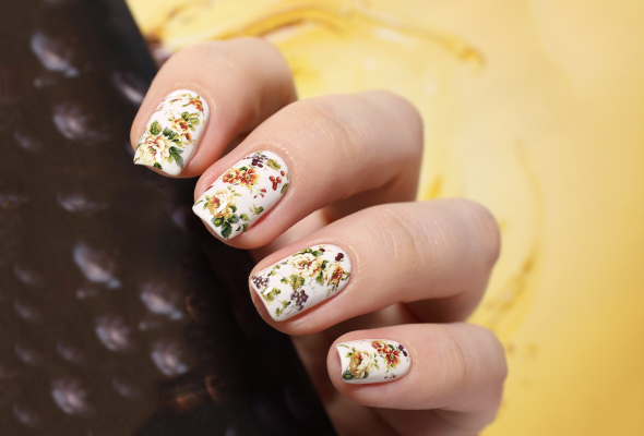 Vintage floral water decals over white