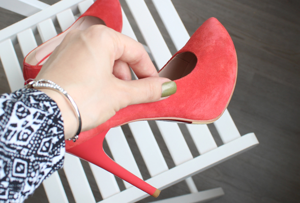 Red high heel suede shoes