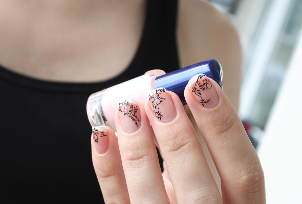 Black lace french nails