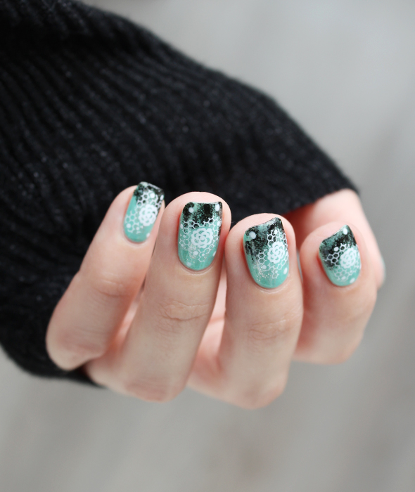Mint black lace grunge nail design with flowers