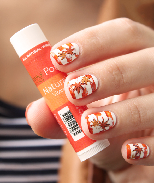 Fall maple leaves nail art design