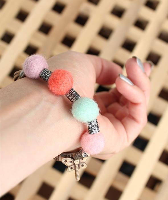 Handmade felt bracelet balls
