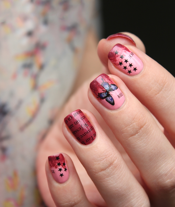 Butterfly letters nail design
