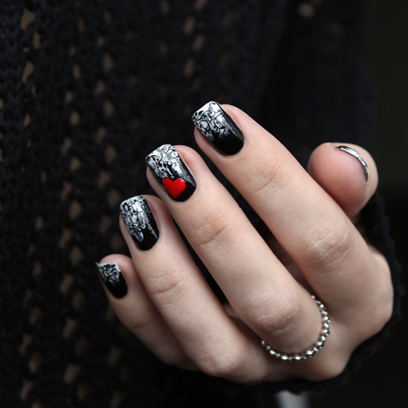 Red heart black floral lace nail design