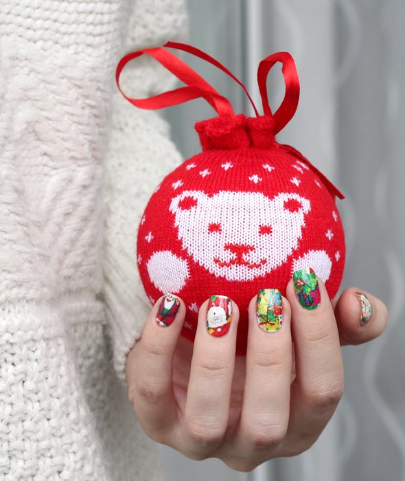 Christmas Santa Claus nails art