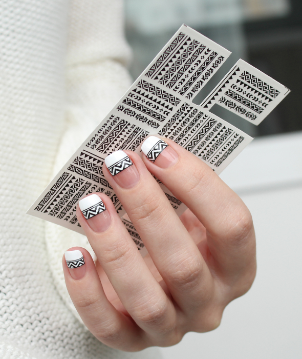 Black and white tribal french nails