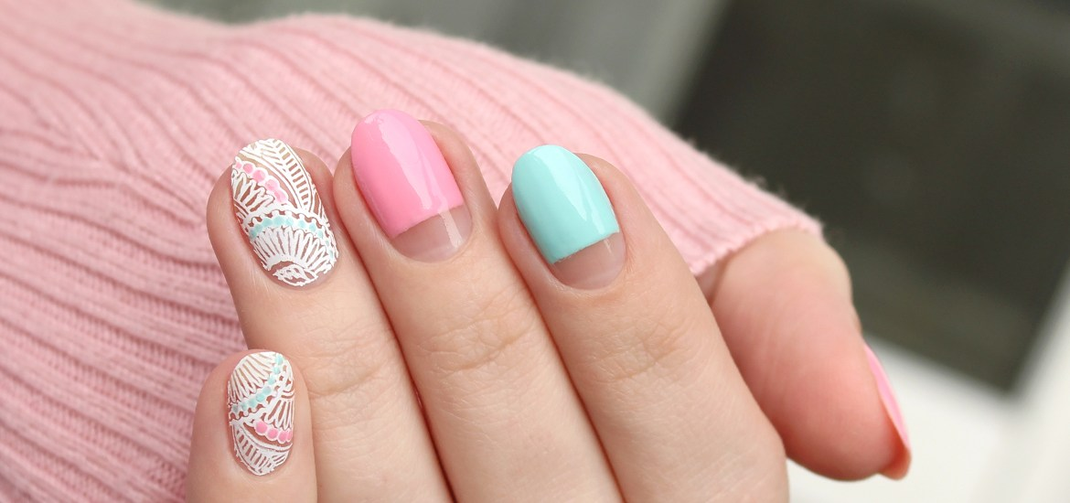 White lace accent nails design