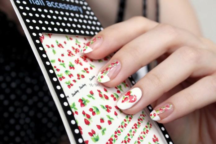 Strawberry nail design art